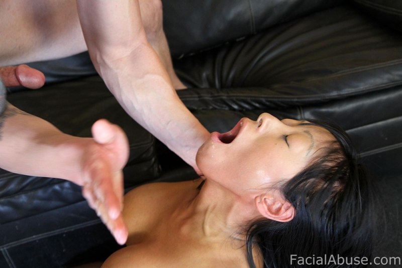 Asian brutal face fuck