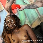 Black Ghetto Whore Bella Doll Is Throat Fucked By White Cock