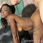 Ebony Whore Divinity Divine Gets Her Throat Penetrated With White Cock