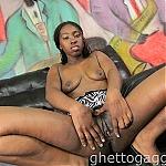 Submissive Ebony Whore Gets Her Throat Dominated By White Dick