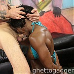 Ebony Muscle Woman Ashley Starr Gets Her Throat Stuffed With White Cock