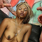 Hot Ebony Street Whore MaryJane Is Face Fucked With Two White Dicks