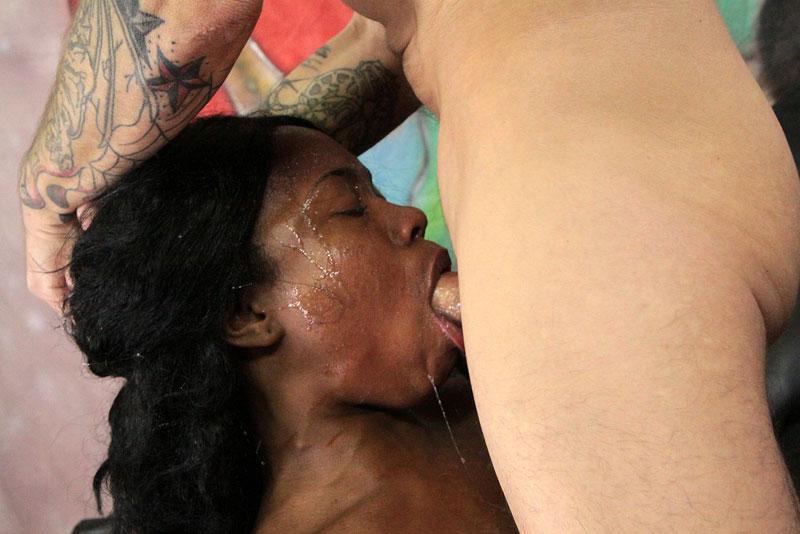 Ebony Deep Throat Gagging