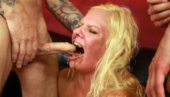 Nasty Deep Throat Makes Blonde Mom Kylie Smith Gag and Puke