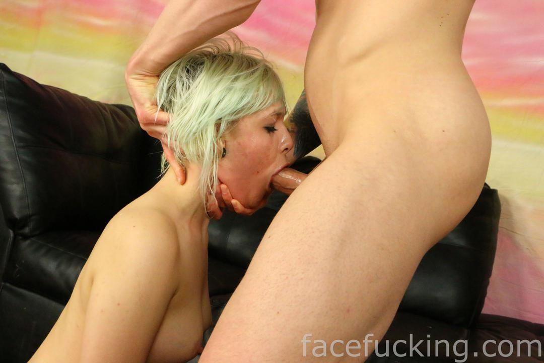 Blonde slut face fucked
