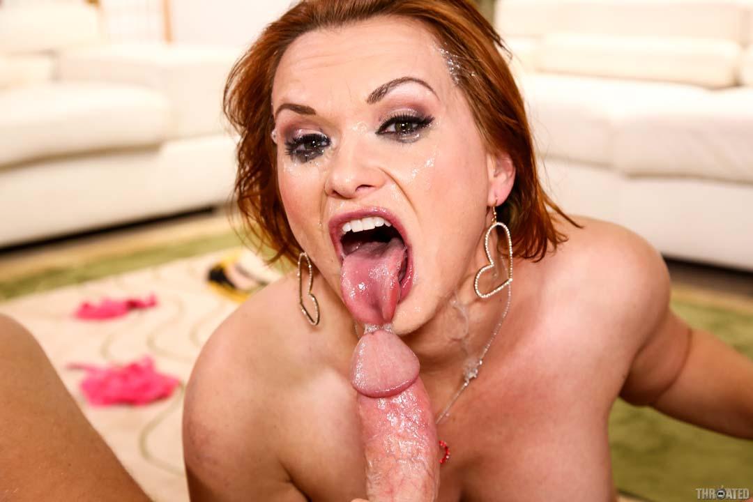 sexy redhead pornstar katja kassin gets her gullet stuffed