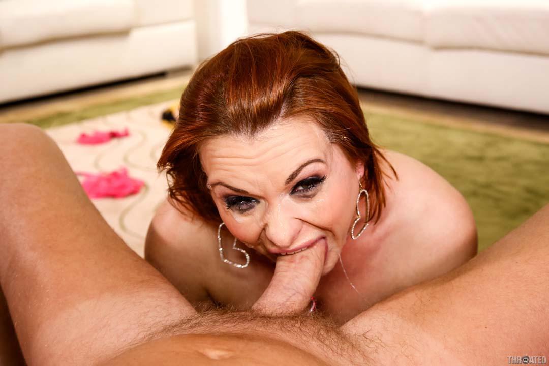 Latina milf gives sloppy blowjob to sensitive big cock and slurps up cum 7
