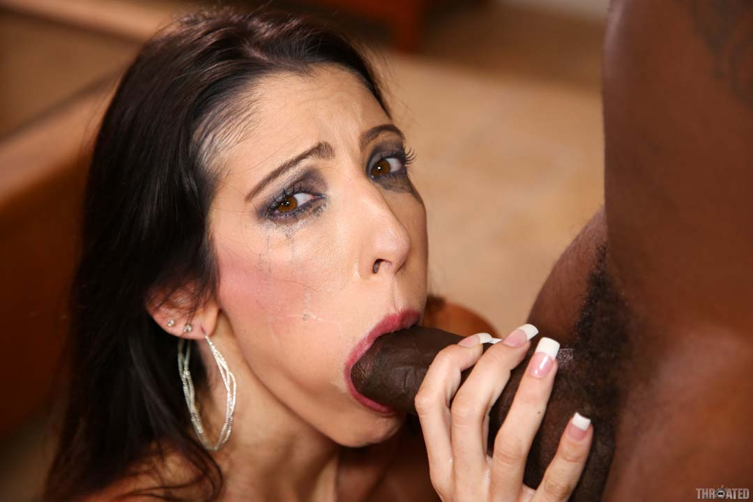 Black cock blowjob cum swallow