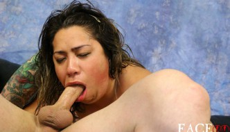 Chubby Slut Chinalynn Gets Her Face Abused By Two Big Hard Cocks