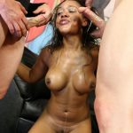 Hot black girl Jaime Fetti penetrated in every hole with big white dicks