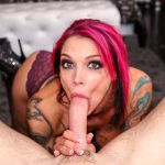 Tattooed deep throat goddess Anna Bell Peaks shows off her dirty oral sex talents