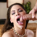 Curvy Aleksa Nicole gets her pretty face fucked hard & splashed with cream