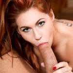 Sexy redhead Edyn Blair blows dude off real good for cum facial