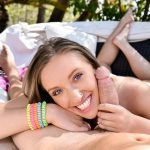 Gorgeous brunette bombshell Harley Jade blows hard on a meat pole