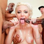 Luscious blonde Jenna Ivory enjoying herself in a blowbang