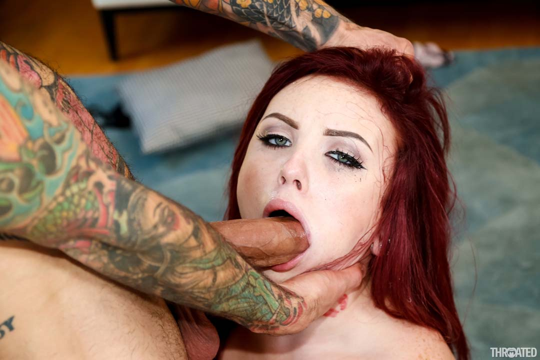 Hot red head chokes on dildo while masturbating 9