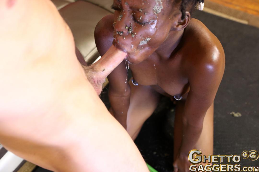 Throat fucked slut face planted on her puke - 1 part 1