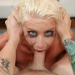 Blue eyed blonde Riley Jenner gags and chokes on your cock