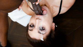 Gabriella Paltrova slobbers & chokes on huge 10 inch black cock
